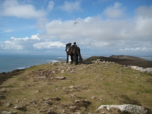 Gydja and Catherine on Rhossili Down